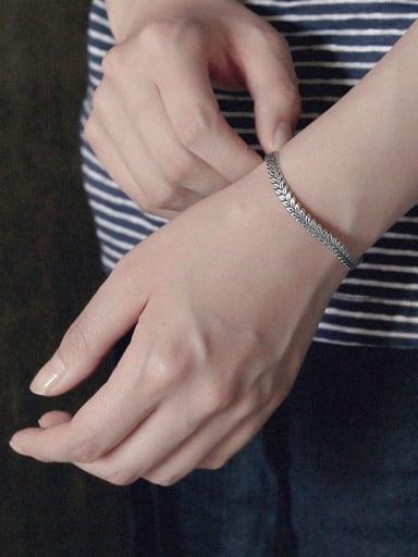 Sterling silver vintage leaf embossed open bracelet