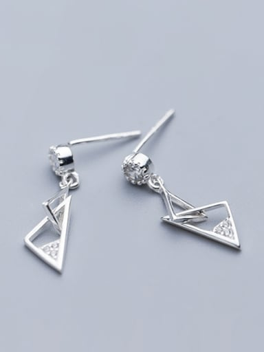 925 Sterling Silver With Platinum Plated Simplistic Triangle Drop Earrings