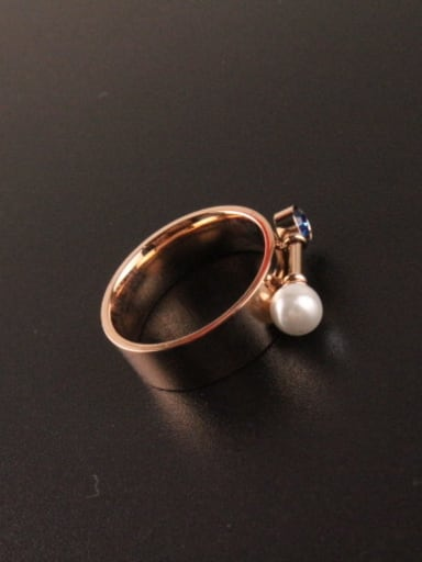 Artificial Pearl Rhinestone Women Titanium Ring