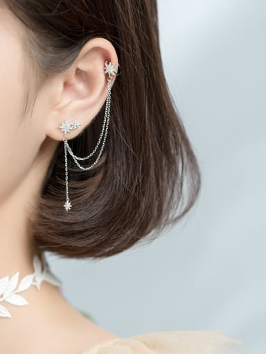 925 Sterling Silver With Platinum Plated Trendy Stars Small Tassel Ear Clip Single