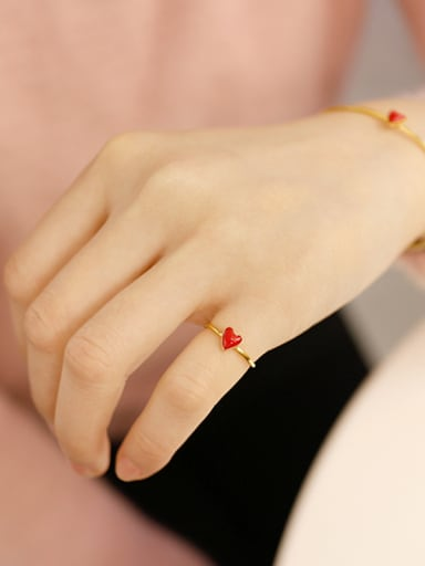 Sterling silver red enamel love heart free size ring