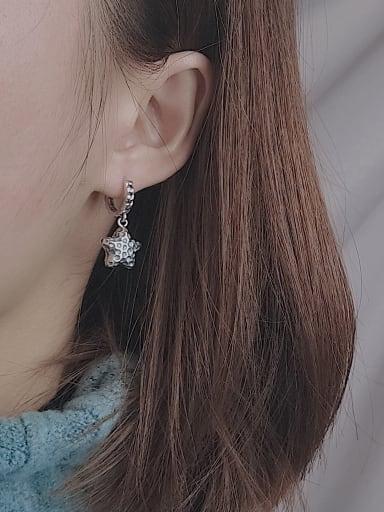 Vintage Sterling Silver With Asymmetric pentagram  Clip On Earrings