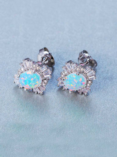 Platinum Plated Opal Stone Cluster earring