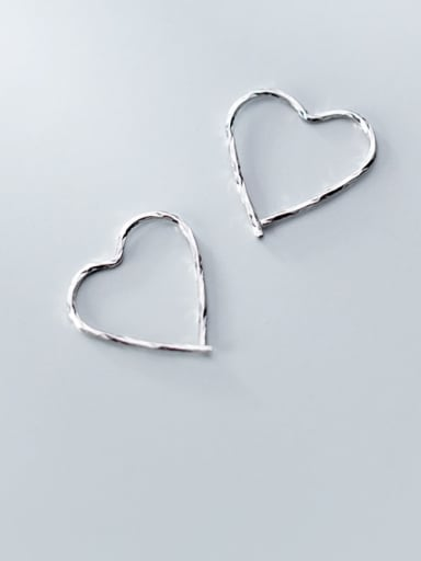 925 Sterling Silver With Platinum Plated Simplistic Line Heart Clip On Earrings
