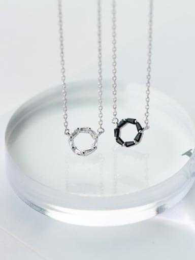 S925 silver round short zircon necklace