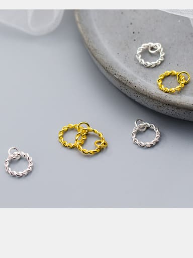 925 Sterling Silver With Silver Plated Safflower circle Charms