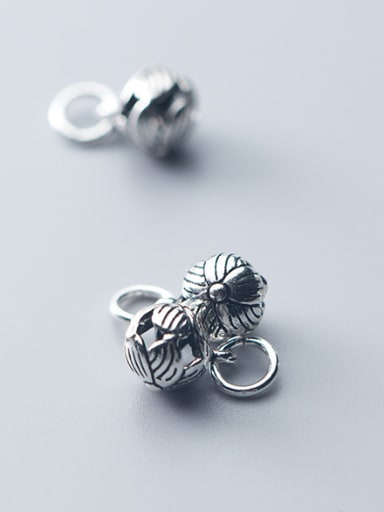 925 Sterling Silver With Antique Silver Plated Vintage  Hollow Flower Charms