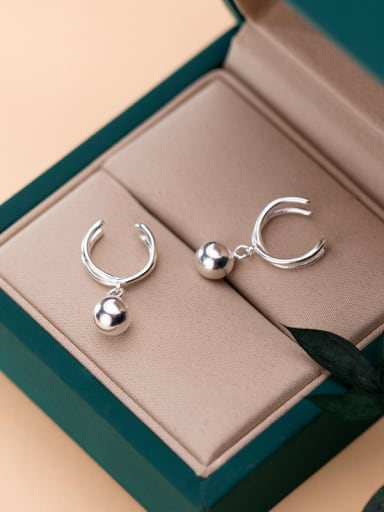 925 Sterling Silver With Platinum Plated  Simplistic C Shape Line Ear clip