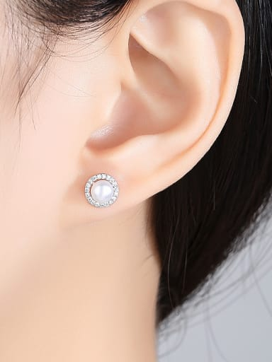 Sterling silver with 3A zircon Natural Freshwater Pearl Earrings