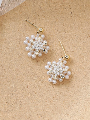 Alloy With Gold Plated Personality Flower Drop Earrings