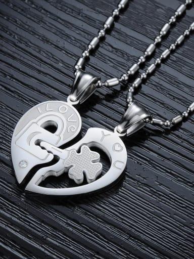 Fashion Heart shaped Rhinestone Lovers Necklace