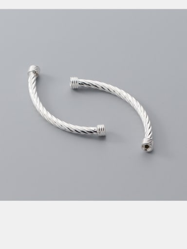 925 Sterling Silver With Silver Plated Printed Bent Pipe