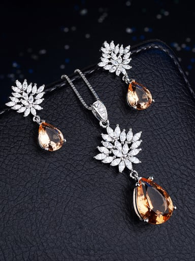 Copper With Cubic Zirconia Delicate Water Drop 2 Piece Jewelry Set