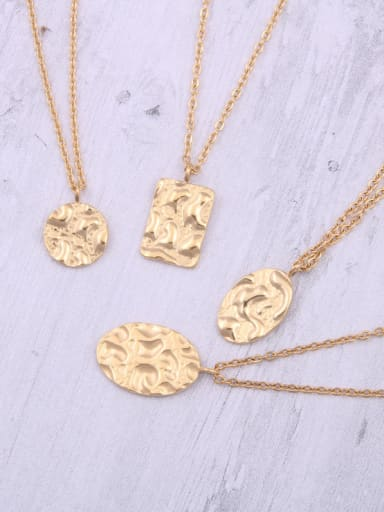 Titanium With Gold Plated Simplistic Concave Convex Geometric Necklaces