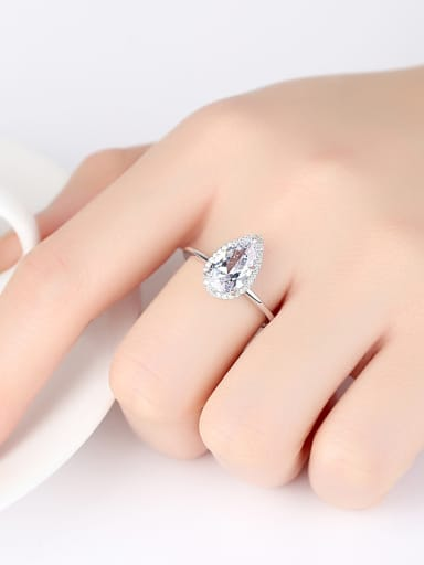 Sterling silver with AAA zircon drop-shaped ring