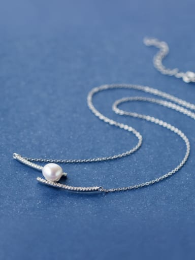 Elegant Geometric Shaped Artificial Pearl S925 Silver Necklace