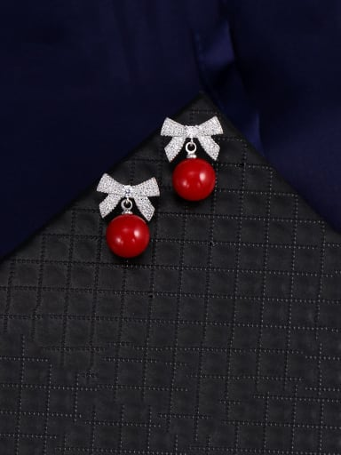 Copper With Platinum Plated Delicate Bowknot Stud Earrings