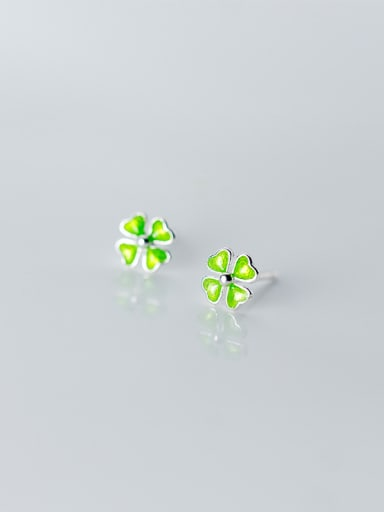 925 Sterling Silver With Platinum Plated Cute Four-Leaf Clover  Stud Earrings