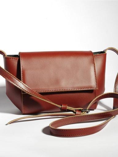 Niche designer cowhide retro small square bag