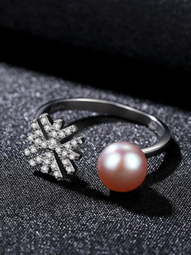 Pure silver zircon snowflake natural freshwater pearl free size ring