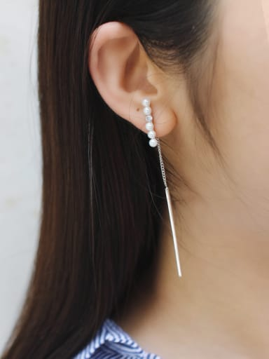 Fashion White Little Artificial Pearls Silver Stud Earrings