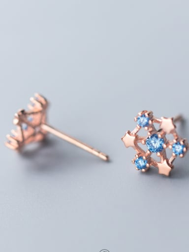 925 Sterling Silver With Cubic Zirconia Fashion Geometric Stud Earrings