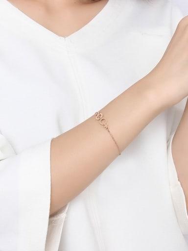 All-match Geometric Shaped Rose Gold Plated Titanium Bracelet