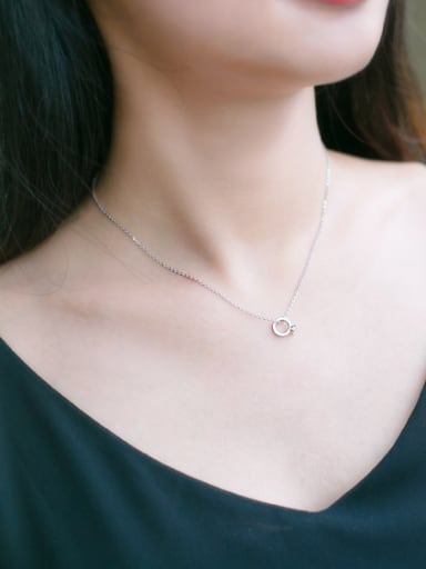 S925 silver mini ring shape zircon necklace