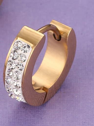 Exquisite Gold Plated Geometric Rhinestone Rhinestones Clip Earrings