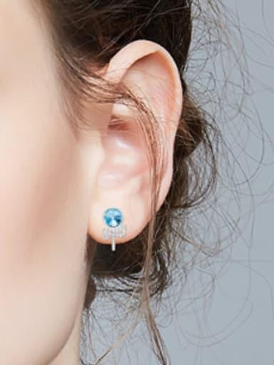 Fashion Blue Swarovski Crystals Little Bowknot 925 Silver Stud Earrings