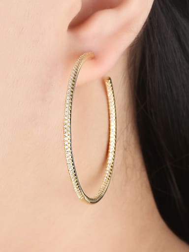 Copper With  Cubic Zirconia Trendy Round Hoop Earrings