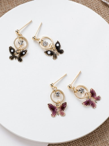 Alloy With Gold Plated Cute Butterfly Drop Earrings