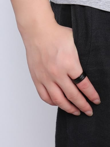 Personality Black Gun Plated High Polished Titanium Ring