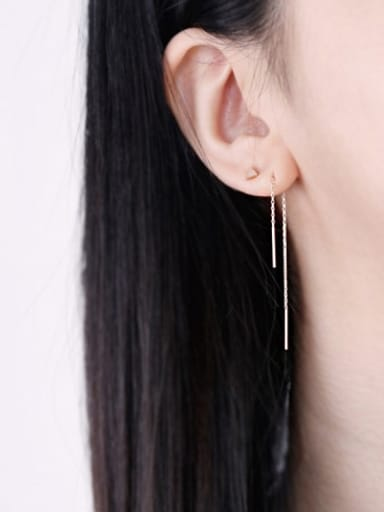 925 Sterling Silver With Silver Plated Simplistic Threader Earrings