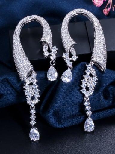 Copper With Cubic Zirconia  Luxury Hook Cluster Earrings