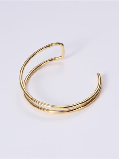 Titanium With Gold Plated Personality Geometric Free Size Bangles