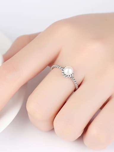 Pure silver retro threaded pearl Thai silver free size ring