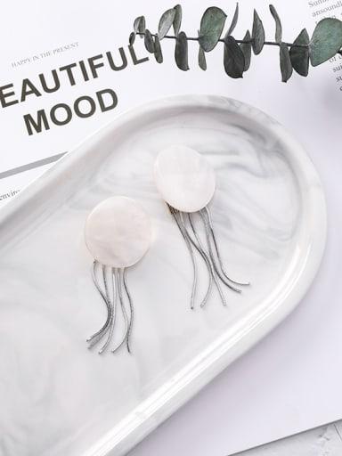 Alloy With Acrylic geometric disc tassels Oval Drop Earrings