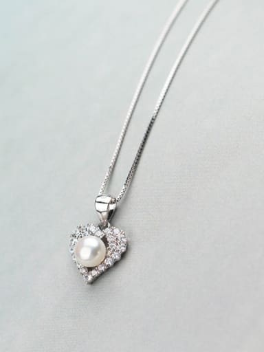 Fashion Heart Shaped Artificial Pearl S925 Silver Pendant