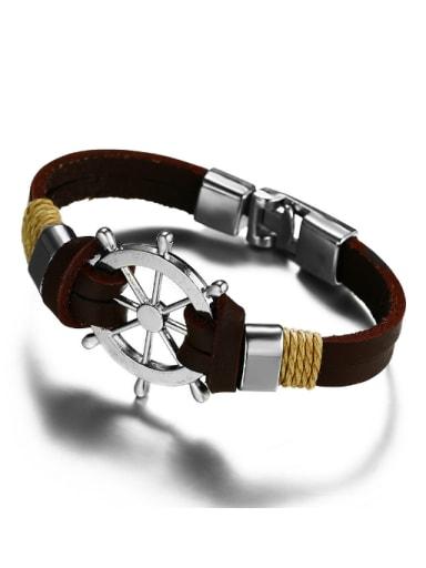 Personality Black Artificial Leather Geometric Alloy Bracelet