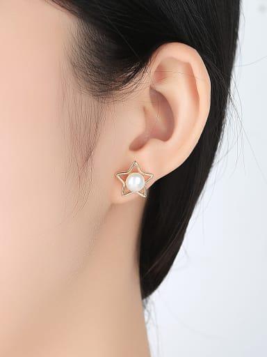 Sterling silver natural pearl fashion Pentagram star earrings