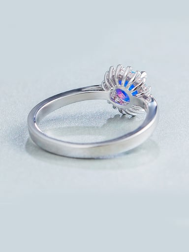 Round Opal Stone Engagement Ring