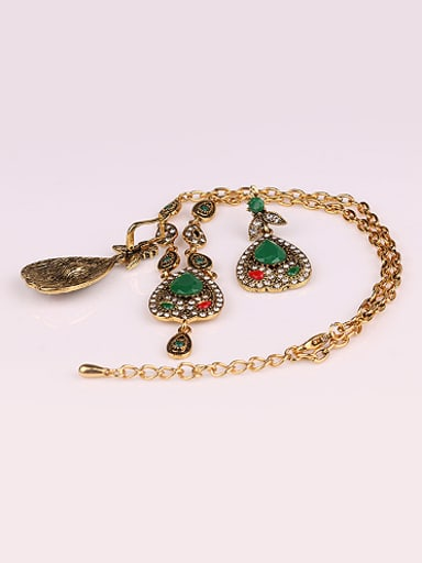 Ethnic style Water Drop shaped Resin stones Alloy Two Pieces Jewelry Set