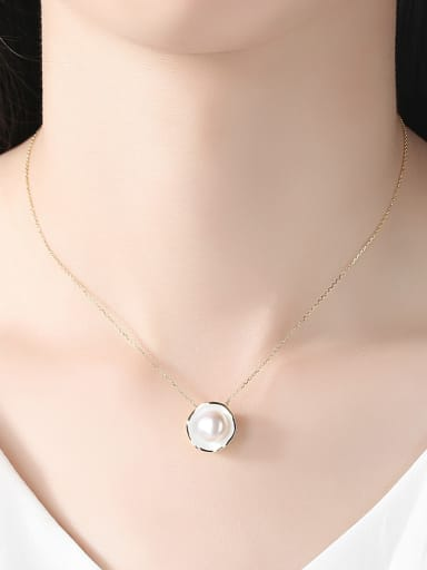New Pure Silver Natural Freshwater Pearl Pendant Necklace