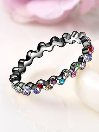 Colorful Black Gun Plated Austria Crystals Ring