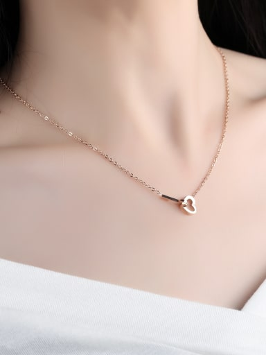 Simple Heart Key Rose Gold Plated Titanium Necklace