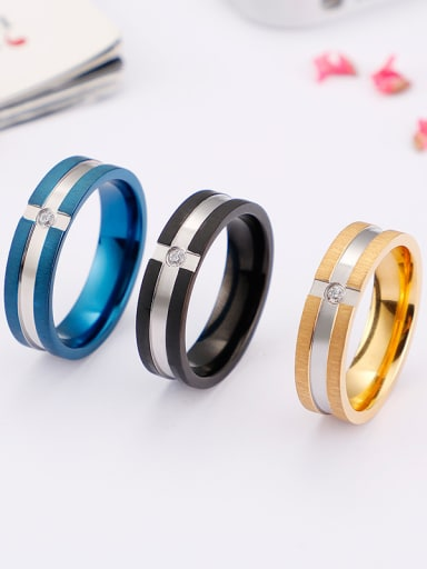 Stainless Steel With Rhinestone Classic Band Rings
