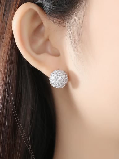 Copper inlaid AAA cubic zirconia bling bling Ball Stud Earrings