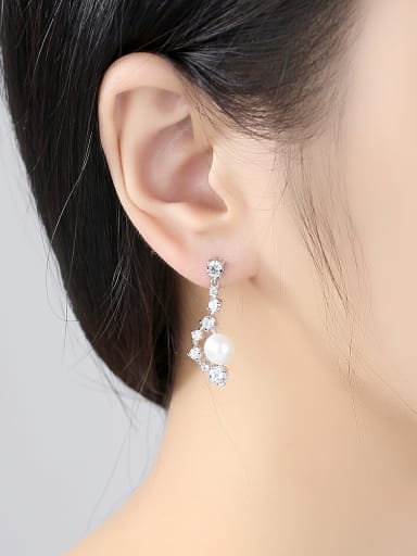 Copper With 3A cubic zirconia Delicate Ball Drop Earrings
