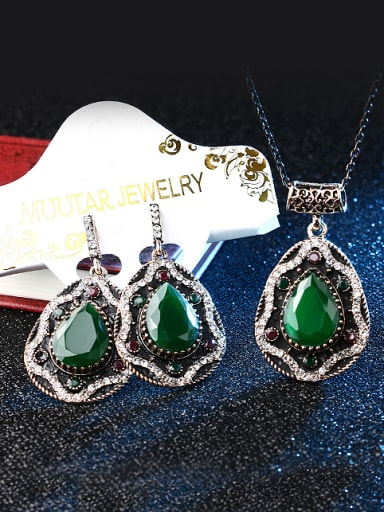 Retro style Water Drop shaped Resin stones Alloy Two Pieces Jewelry Set